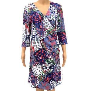 Tracy Negoshian  Brushstrokes Faux Wrap Dress S-M